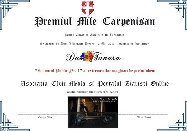 Diploma-Premiul-Mile-Carpenisan-2013-Asociatia-Civic-Media-Dan-Tanasa-Ziaristi-Online