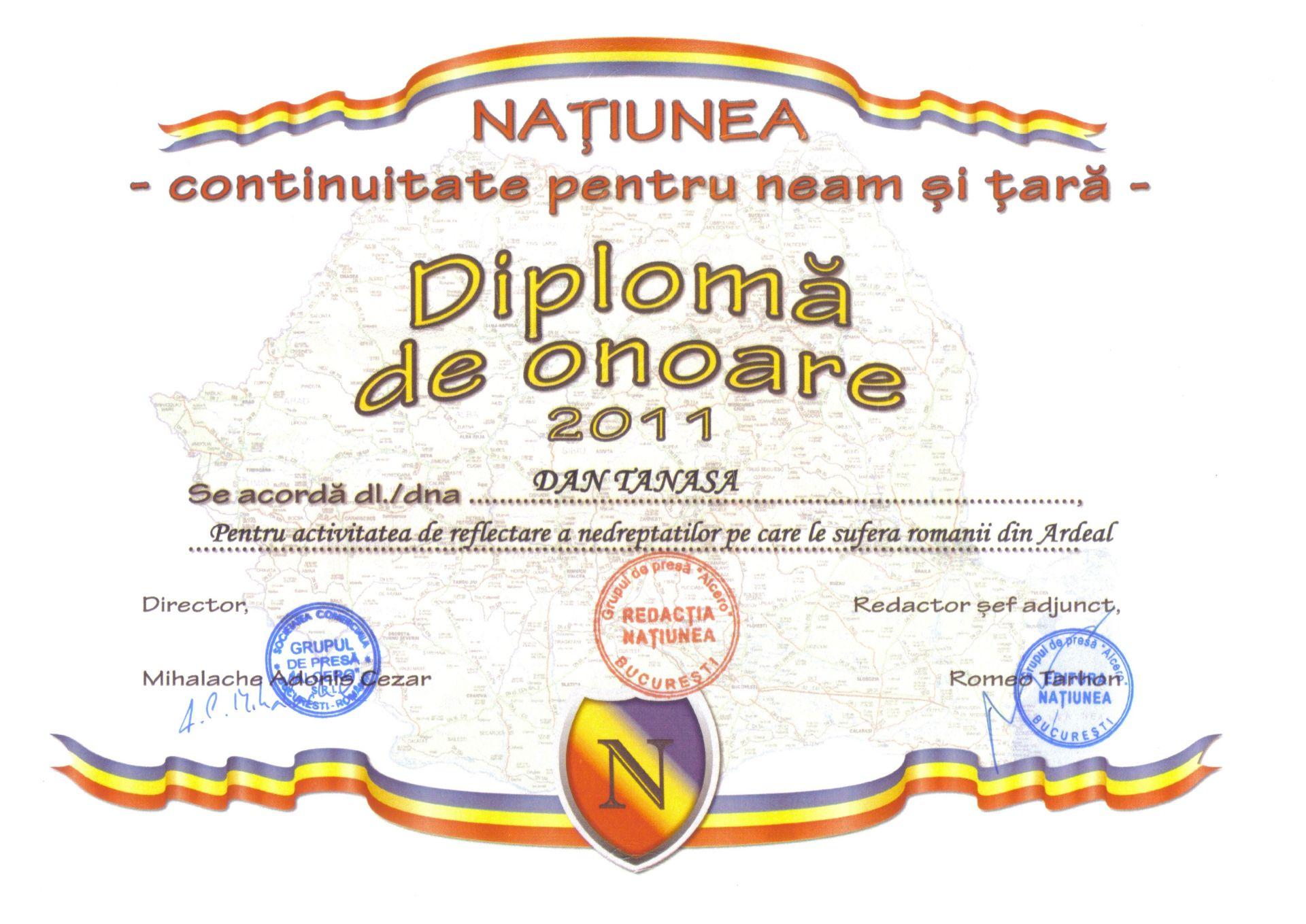 diploma dan tanasa 2011 Natiunea