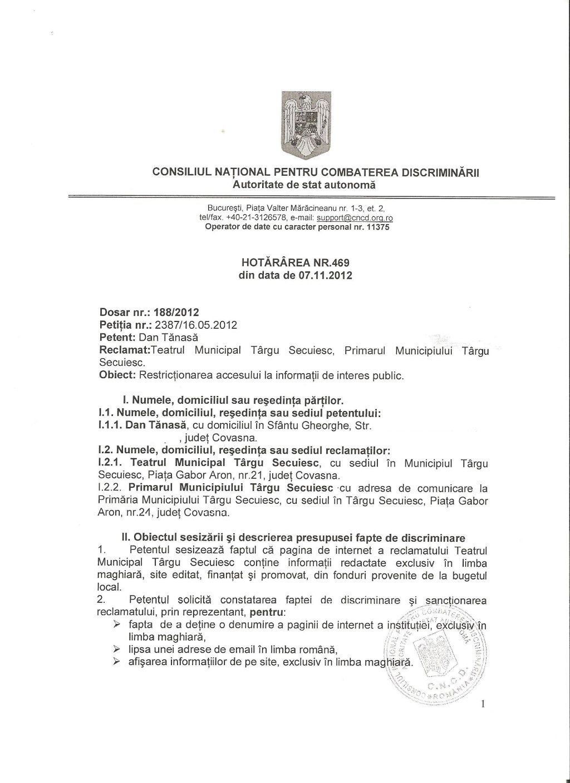 2 CNCD Teatrul Targu Secuiesc discriminare avertisment