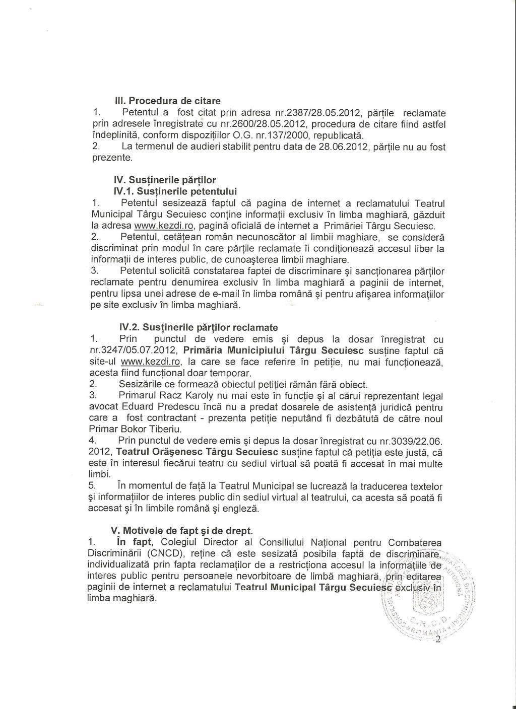 3 CNCD Teatrul Targu Secuiesc discriminare avertisment