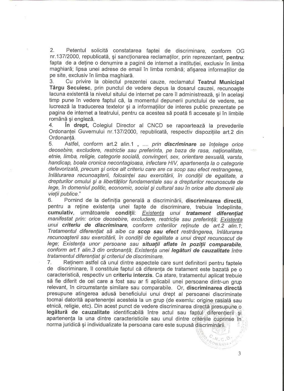 4 CNCD Teatrul Targu Secuiesc discriminare avertisment