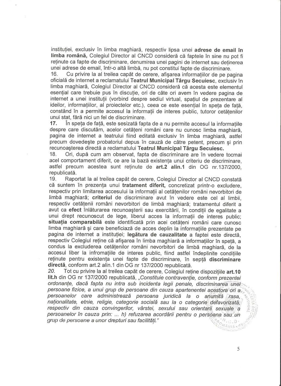6 CNCD Teatrul Targu Secuiesc discriminare avertisment