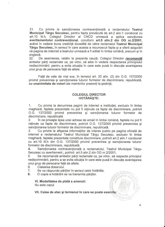7 CNCD Teatrul Targu Secuiesc discriminare avertisment