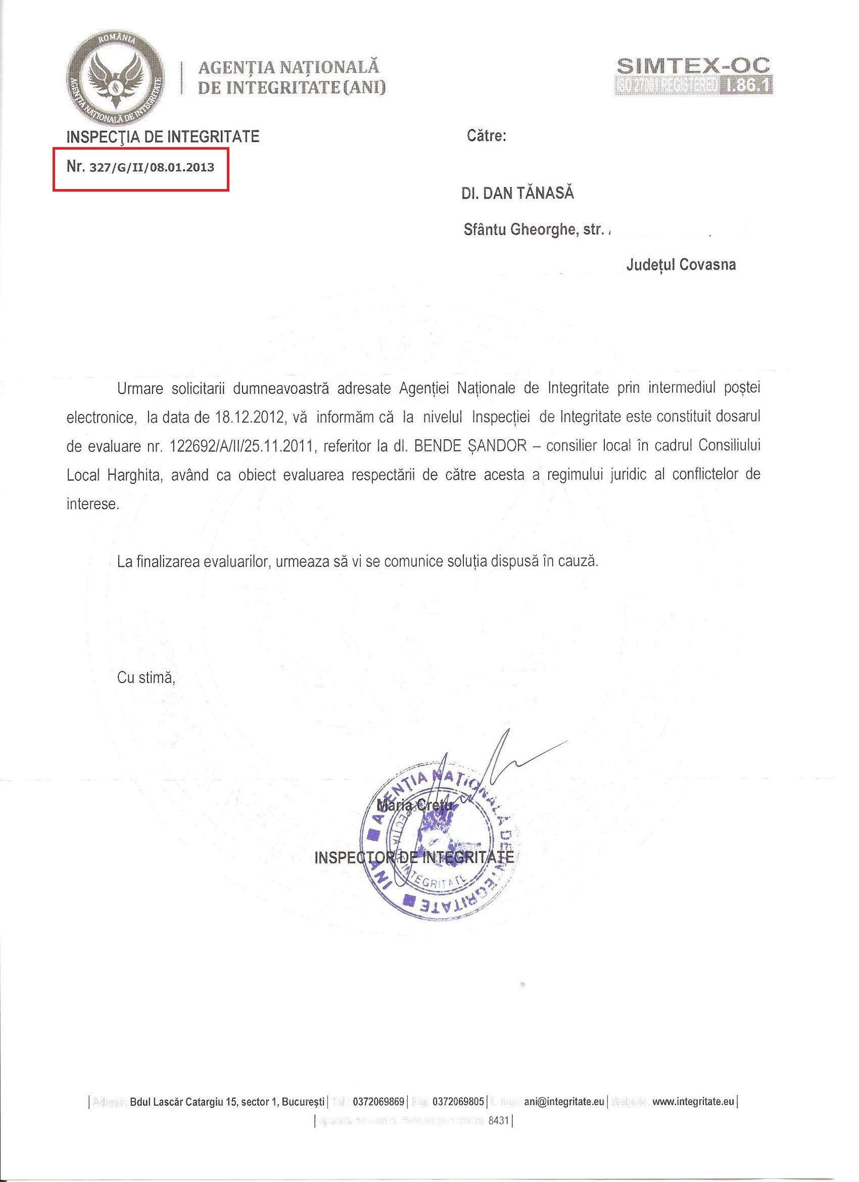 ANI Bende Sandor UDMR 2013