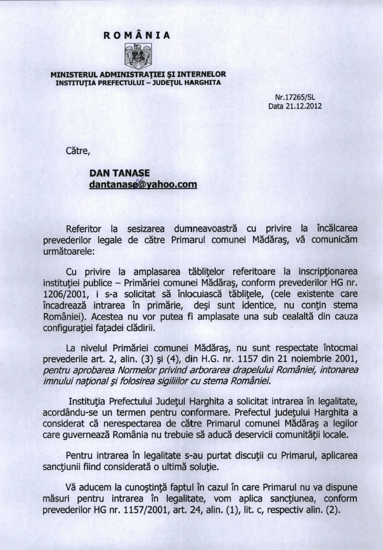 Prefectura Harghita drapel Ungaria Madaras decembrie 2012 1