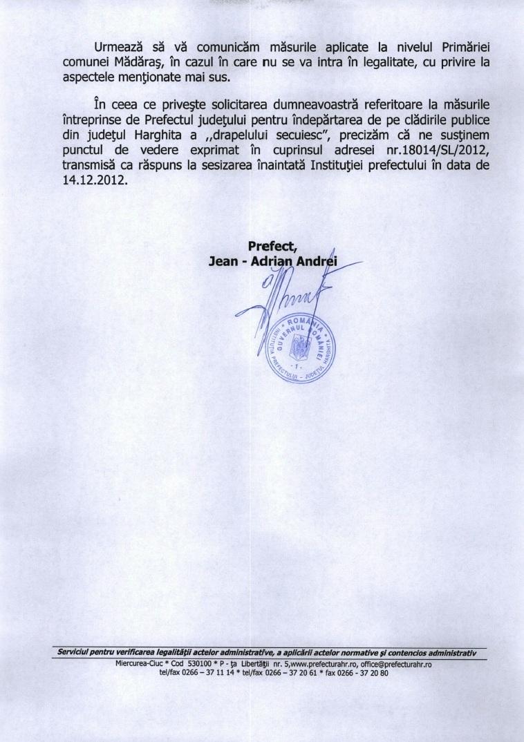 Prefectura Harghita drapel Ungaria Madaras decembrie 2012 2