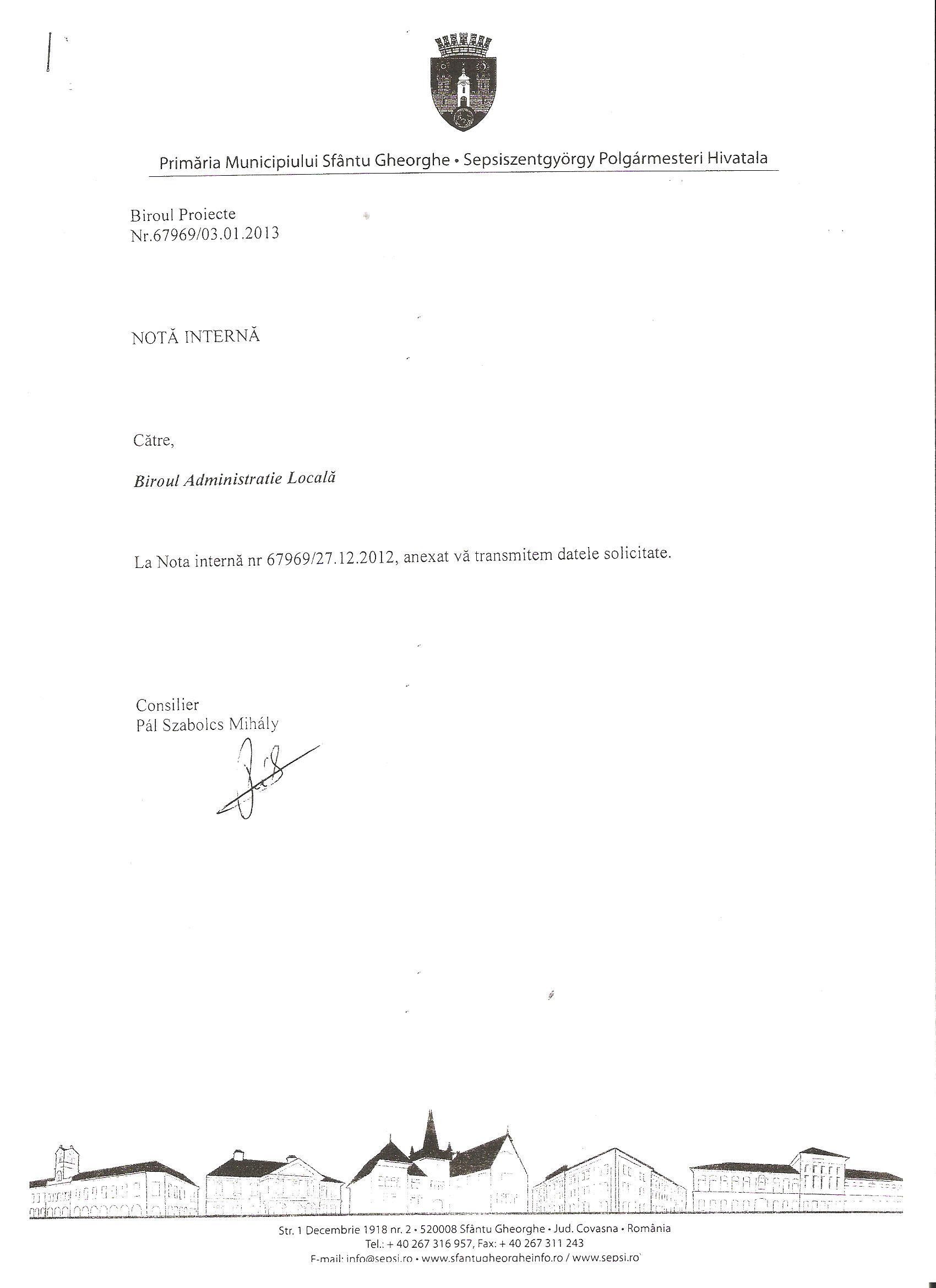 Primăria Sfântu Gheorghe SC Producție Prod AX SRL fonduri europene 1