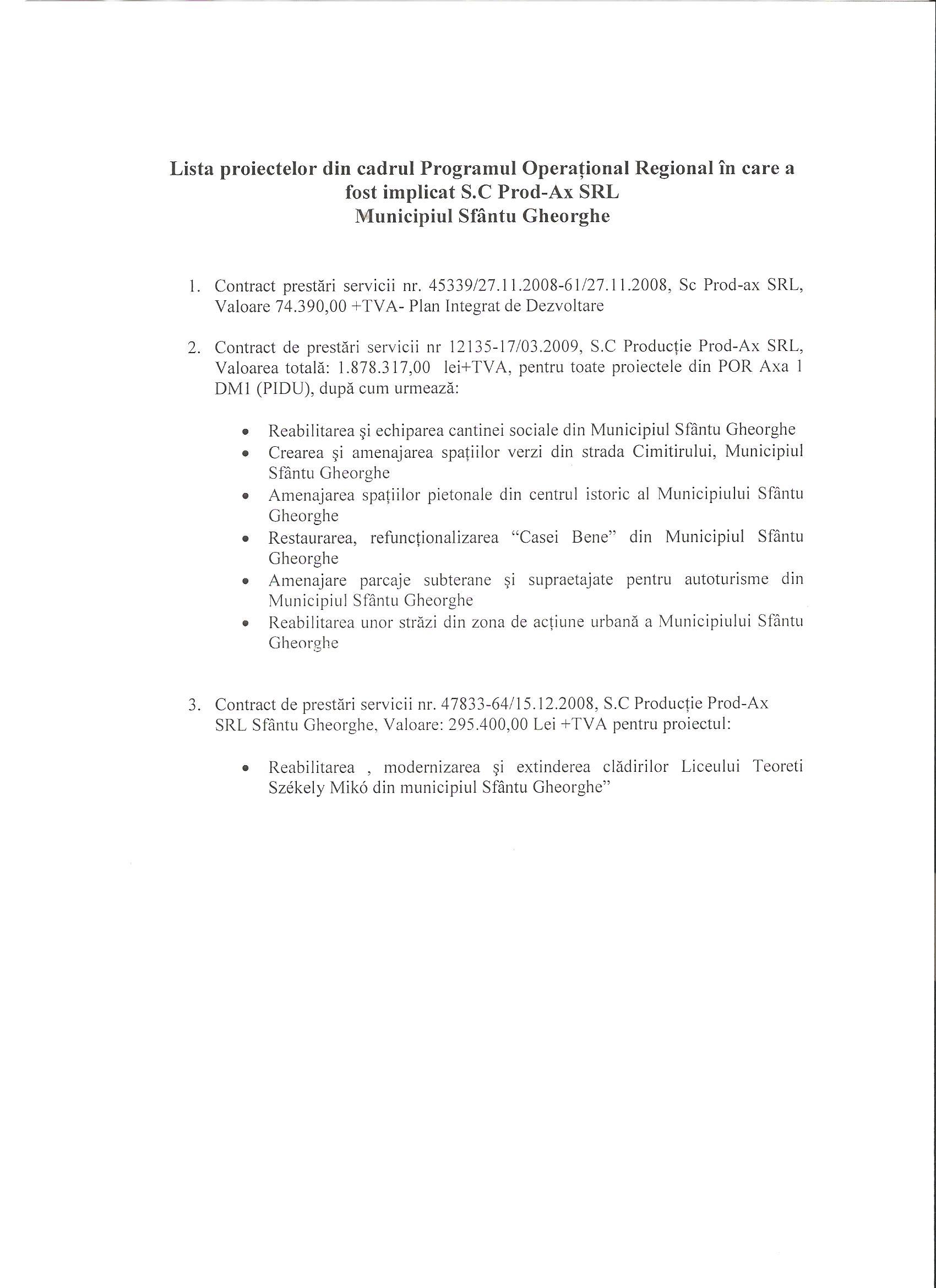 Primăria Sfântu Gheorghe SC Producție Prod AX SRL fonduri europene 2