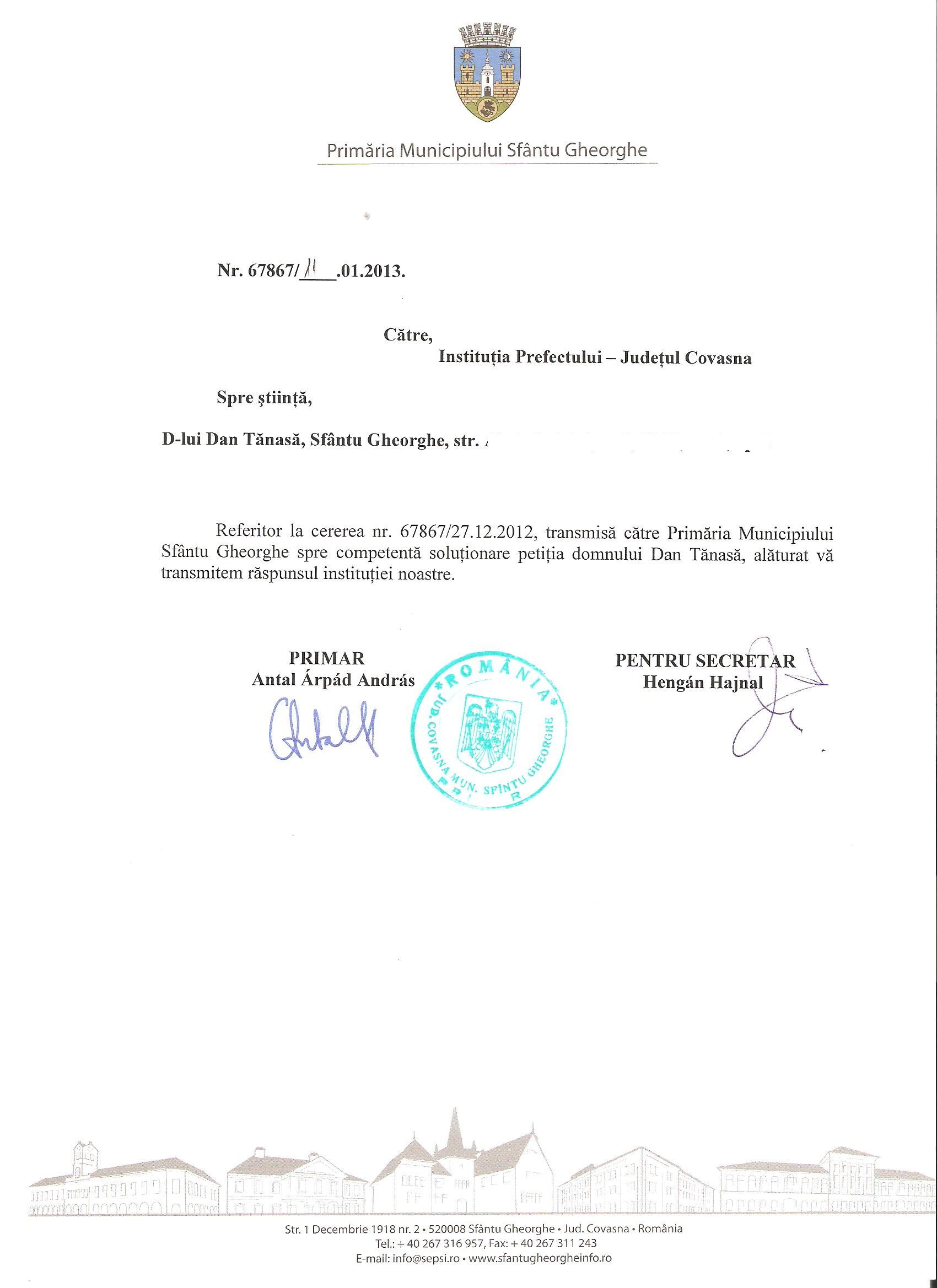 Primăria Sfântu Gheorghe SC Producție Prod AX SRL fonduri europene