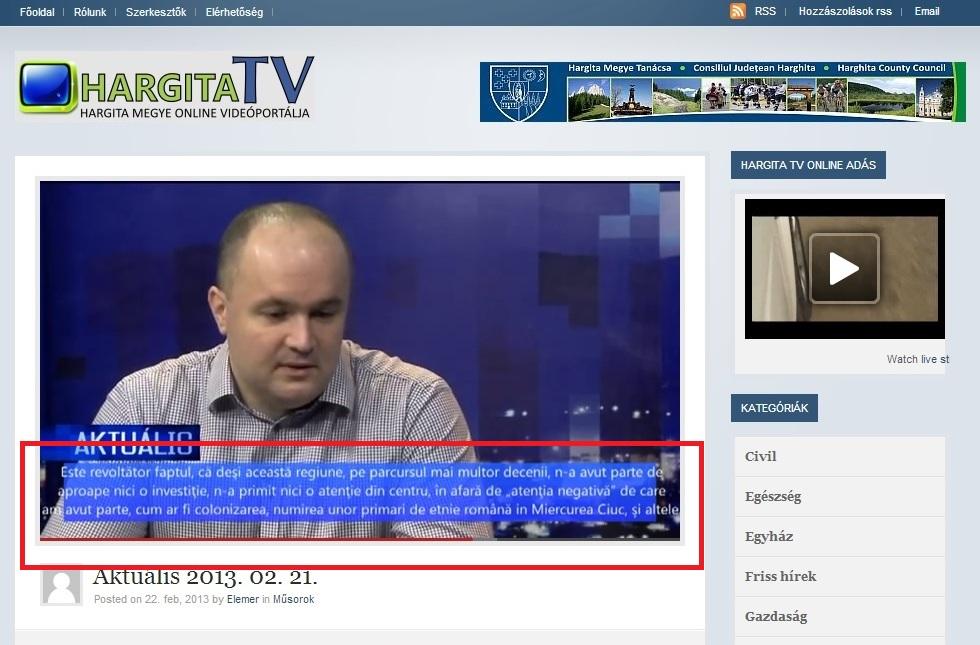 Harghita TV colonizarea românilor