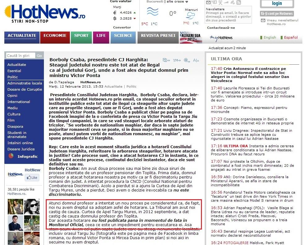 Hotnews Dan Talalagă Borboly Csaba Monitorul Oficial