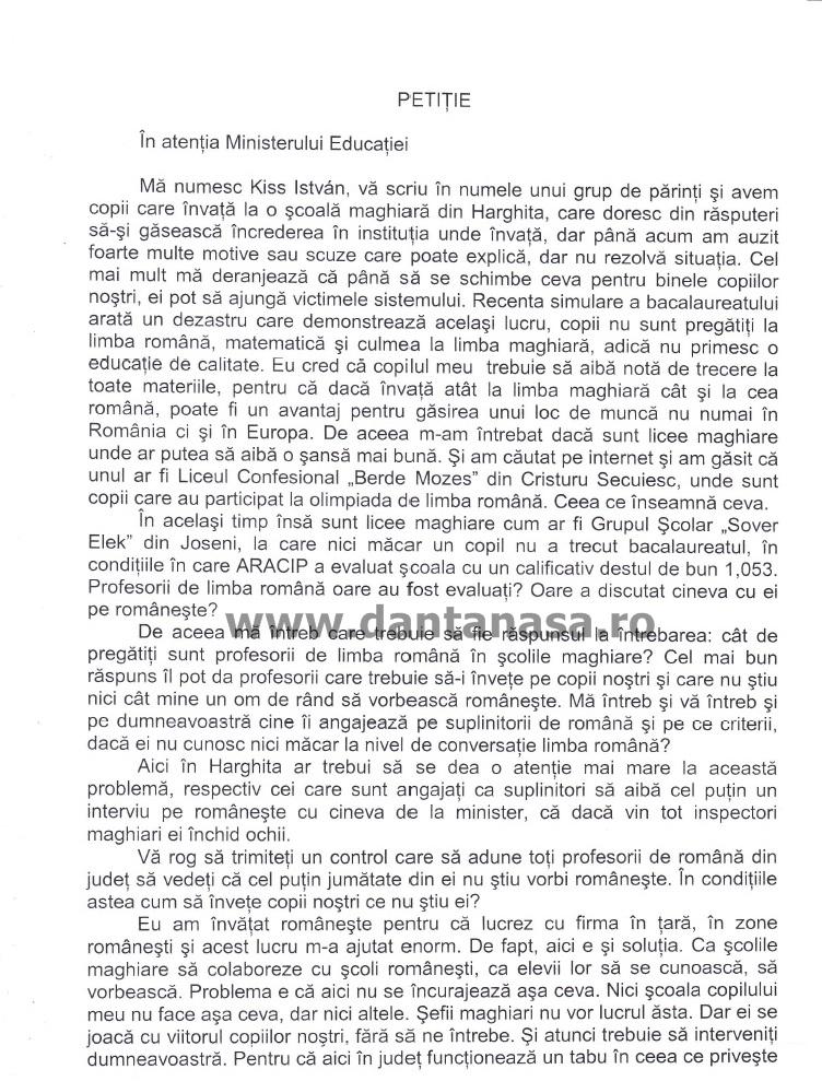 Petitie segregare scoli parinti Harghita