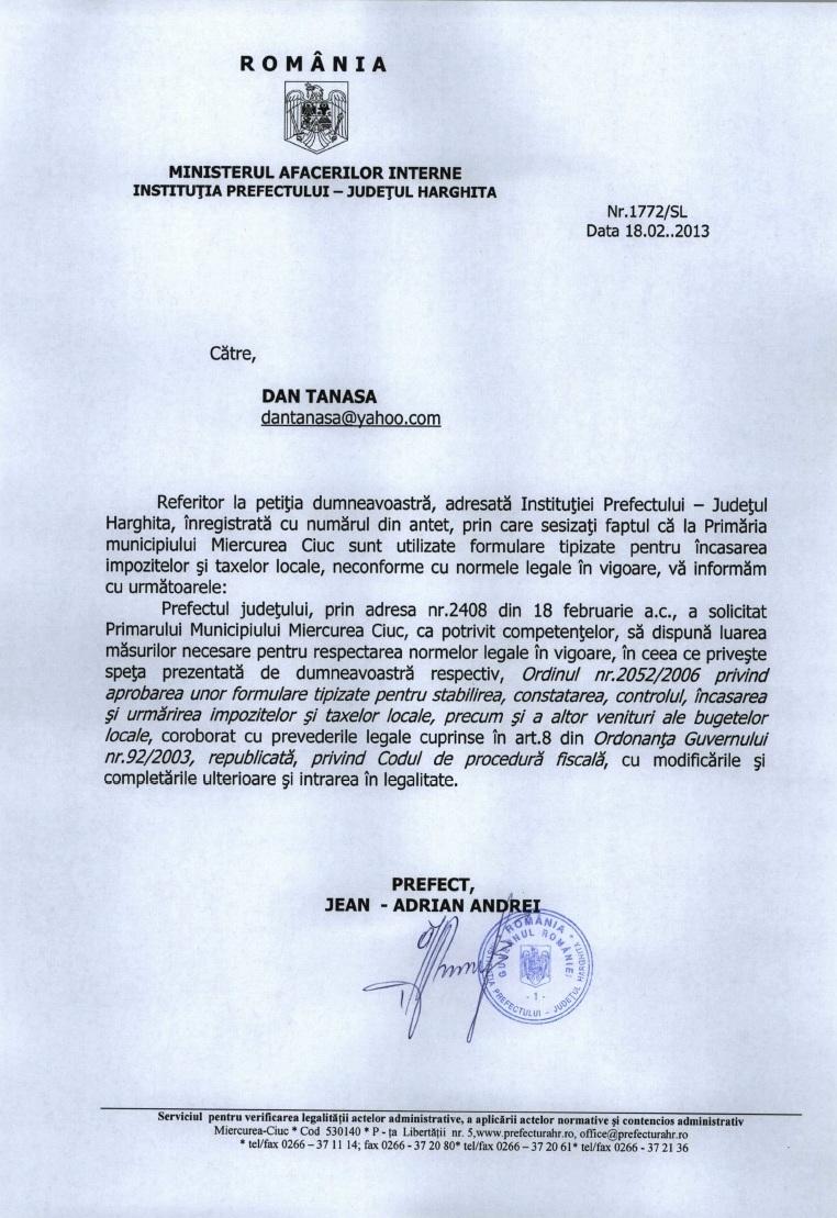 Prefectura Harghita Raduly Robert UDMR formulare taxe M Ciuc