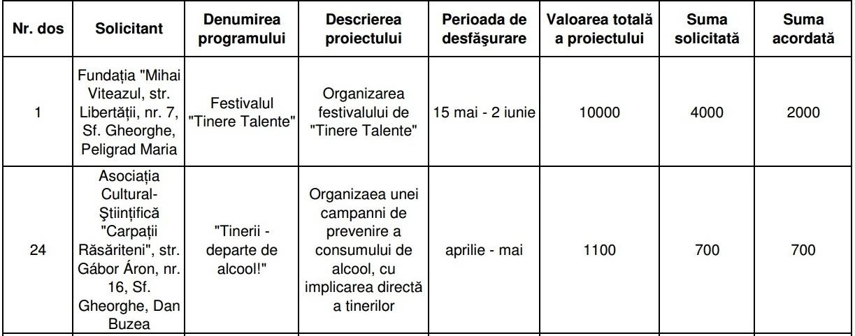 Primăria Sfântu Gheorghe alocări bugetare proiecte tineret români