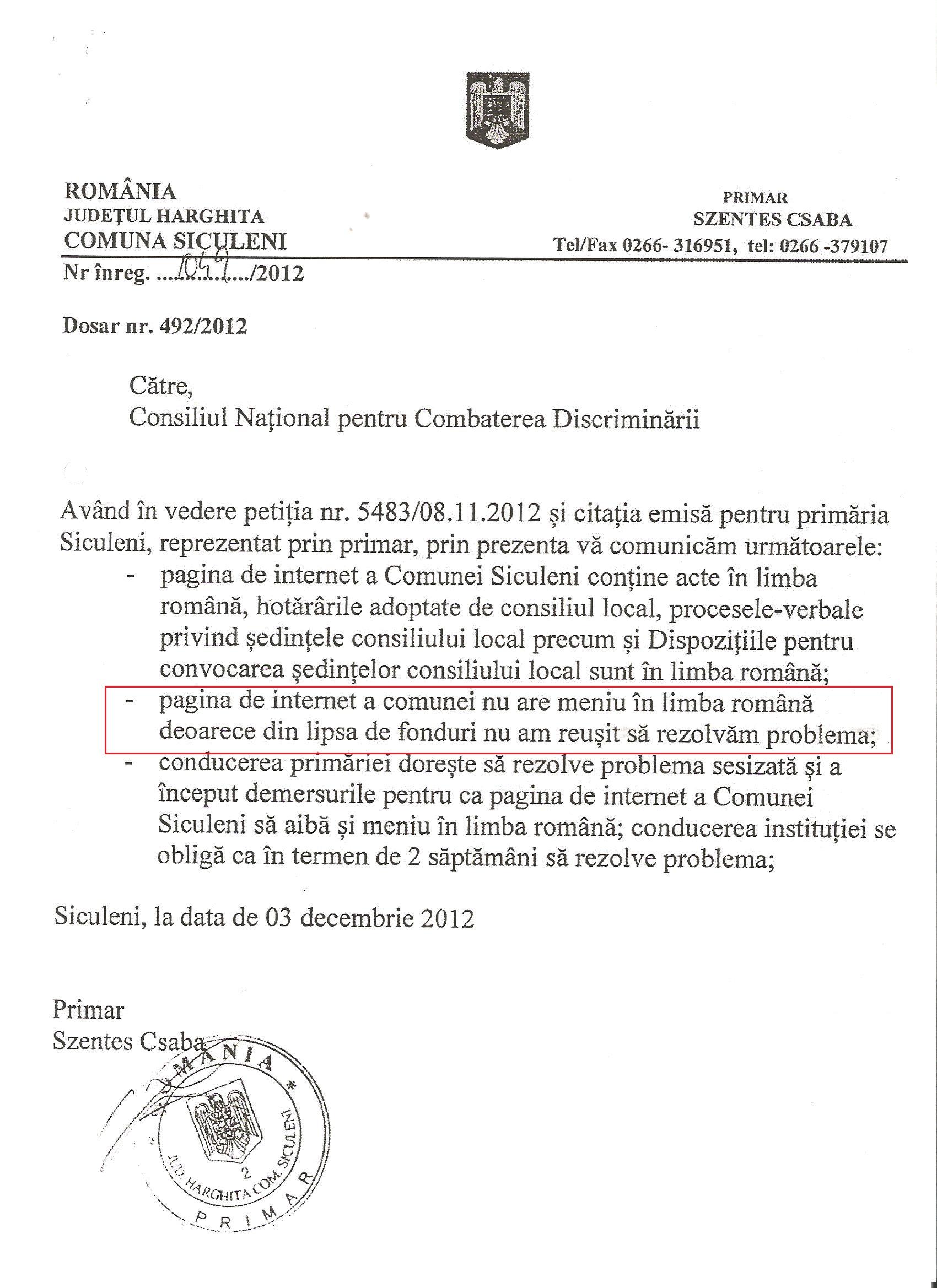Primăria Siculeni UDMR limba maghiară CNCD