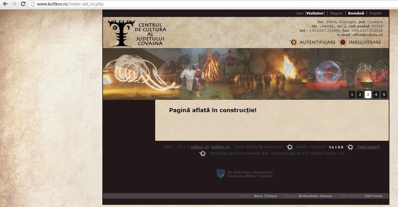Varianta în limba română a paginii de internet a Centrului de Cultură al județului Covasna