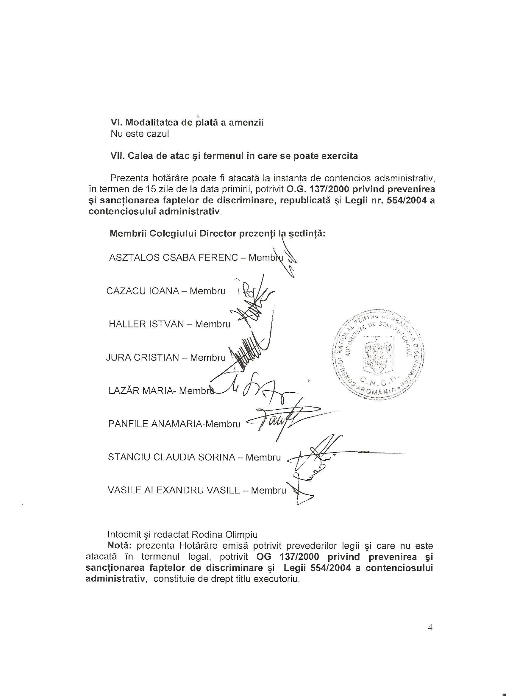 CNCD Primăria Cristuru Secuiesc discriminarea românilor 3