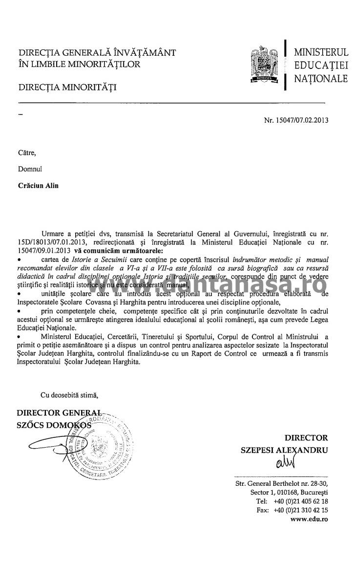 Ministerul Educatiei Nationale Manualul Istoria secuimii