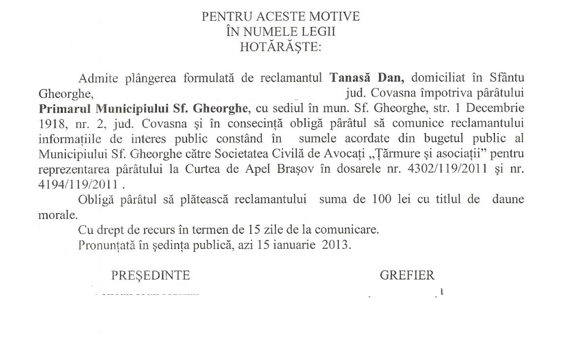 Sentita Tribunalul Covasna Dan Tanasa primar sfantu gheorghe onorarii avocati