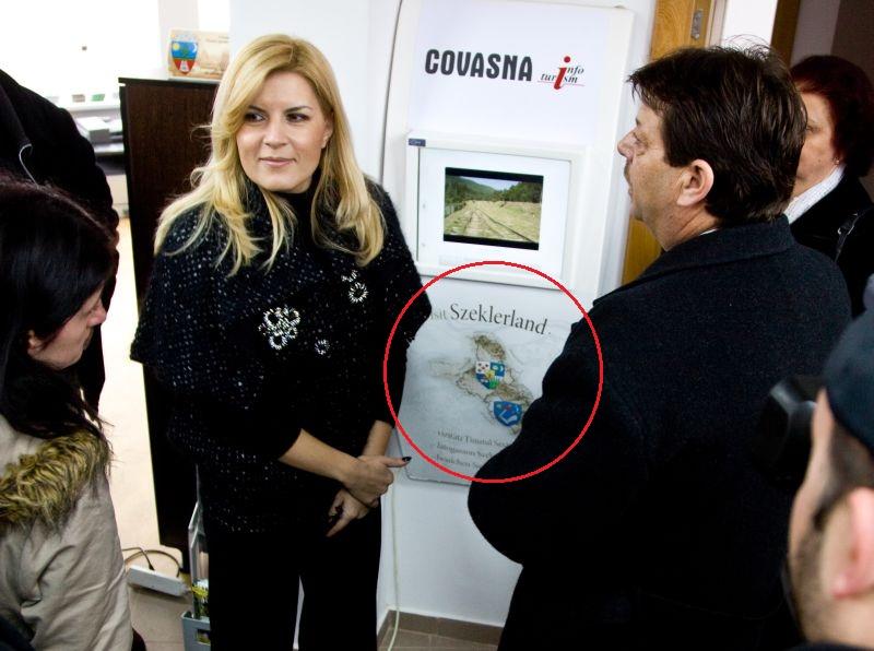 Elena Udrea pe vremea când promova, din poziția de ministru, așa-zisul ținut secuiesc