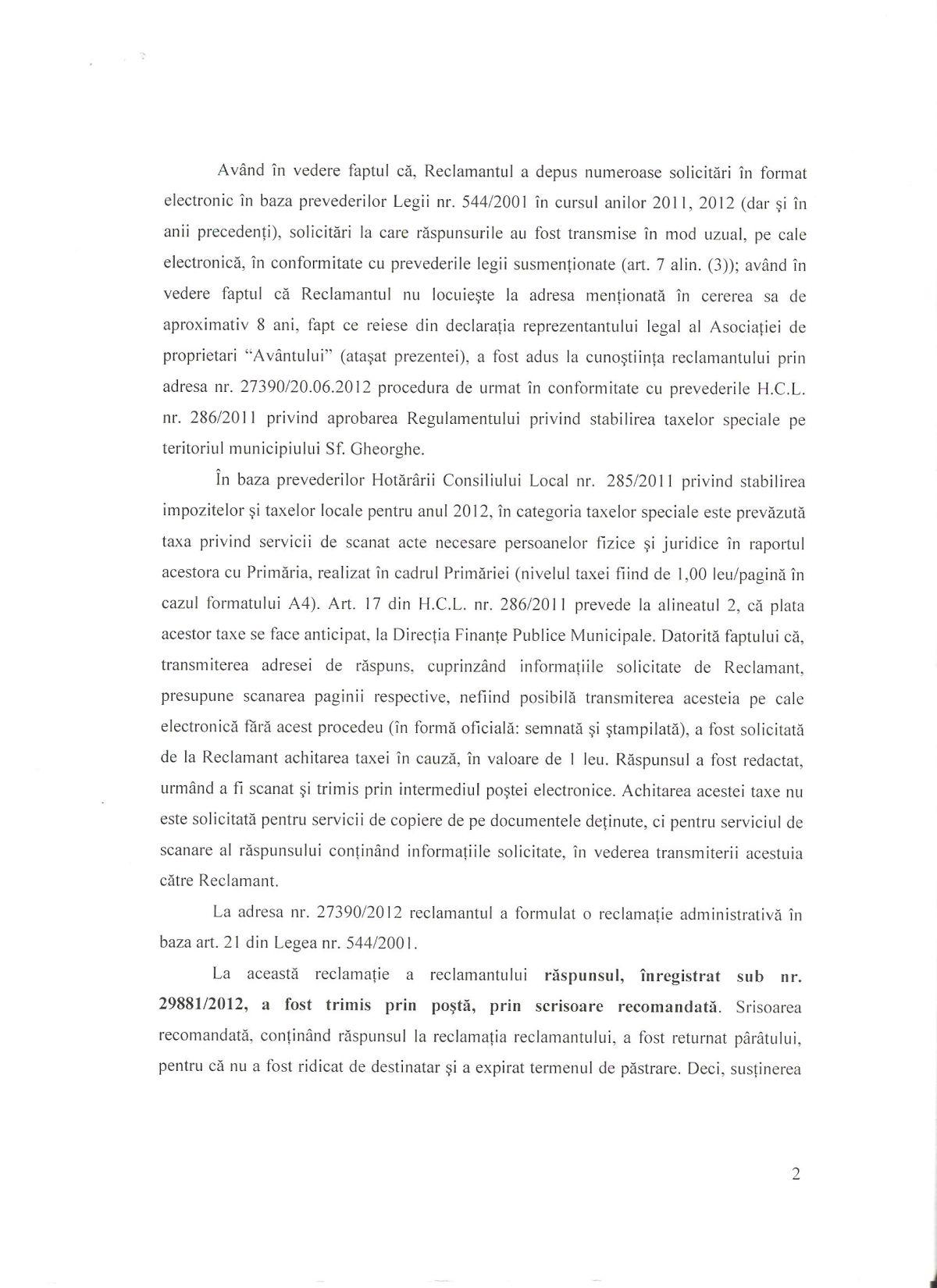 Intampinare Primar Sfantu Gheorghe Tribunal Covasna Legea 544/2001 Dan Tanasa