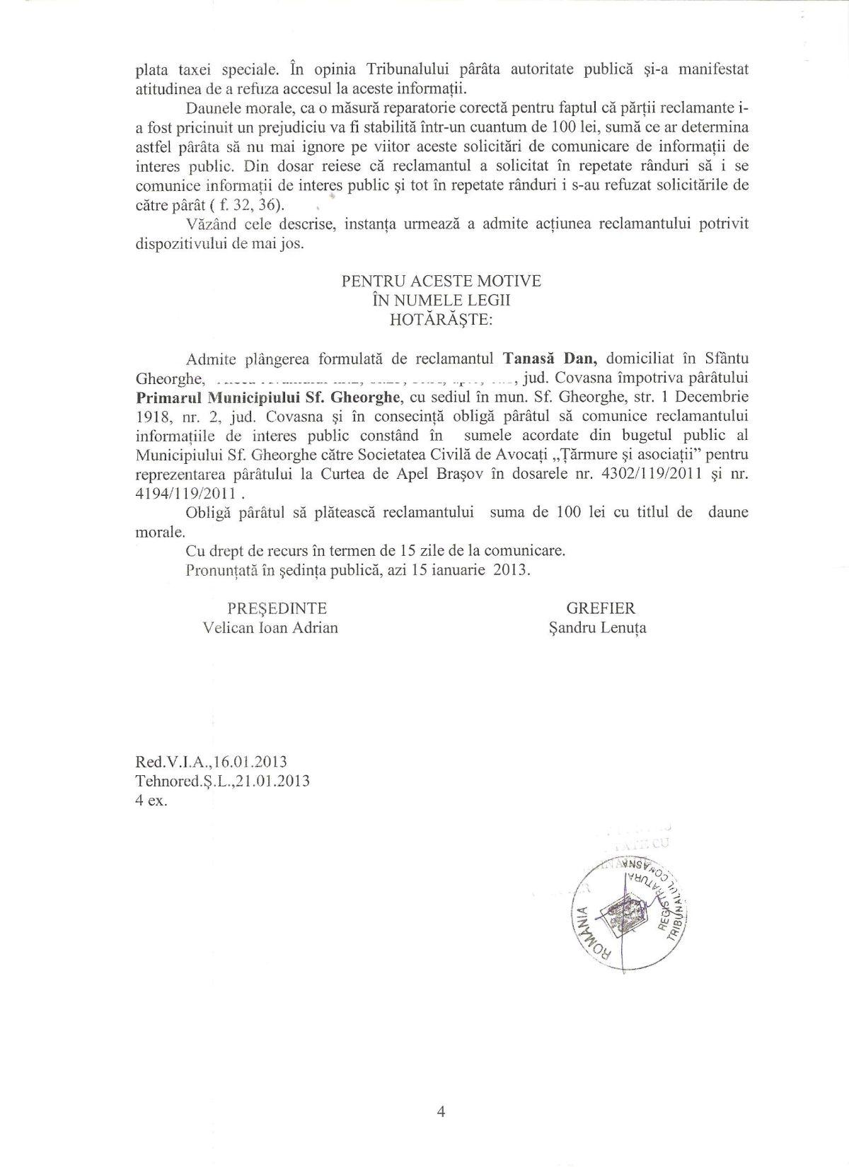 Sentinta Tribunal Covasna Primar Sfantu Gheorghe Legea 544/2001 Dan Tanasa