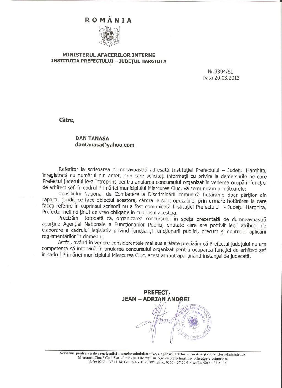 Prefect Harghita CNCD arhitect sef Miercurea Ciuc