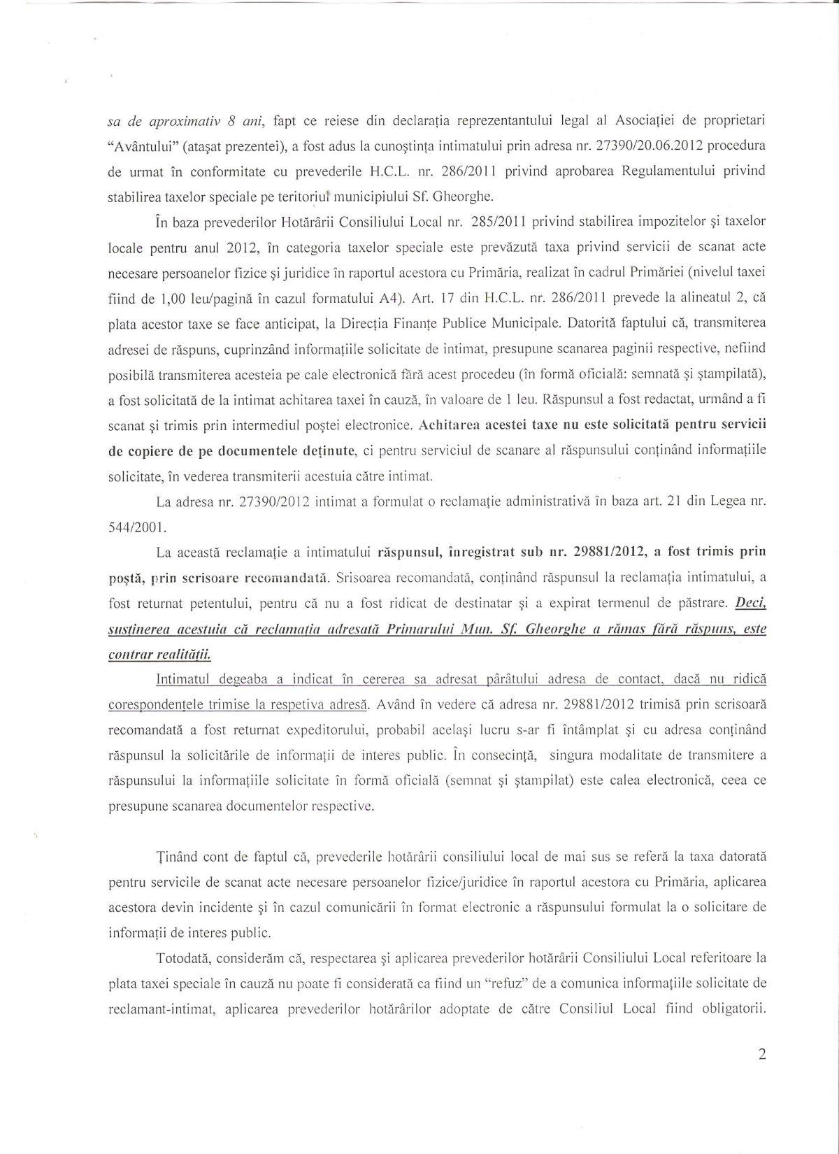 Recurs Primar Sfantu Gheorghe Curtea de Apel Brasov Legea 544 2001 Dan Tanasa 1