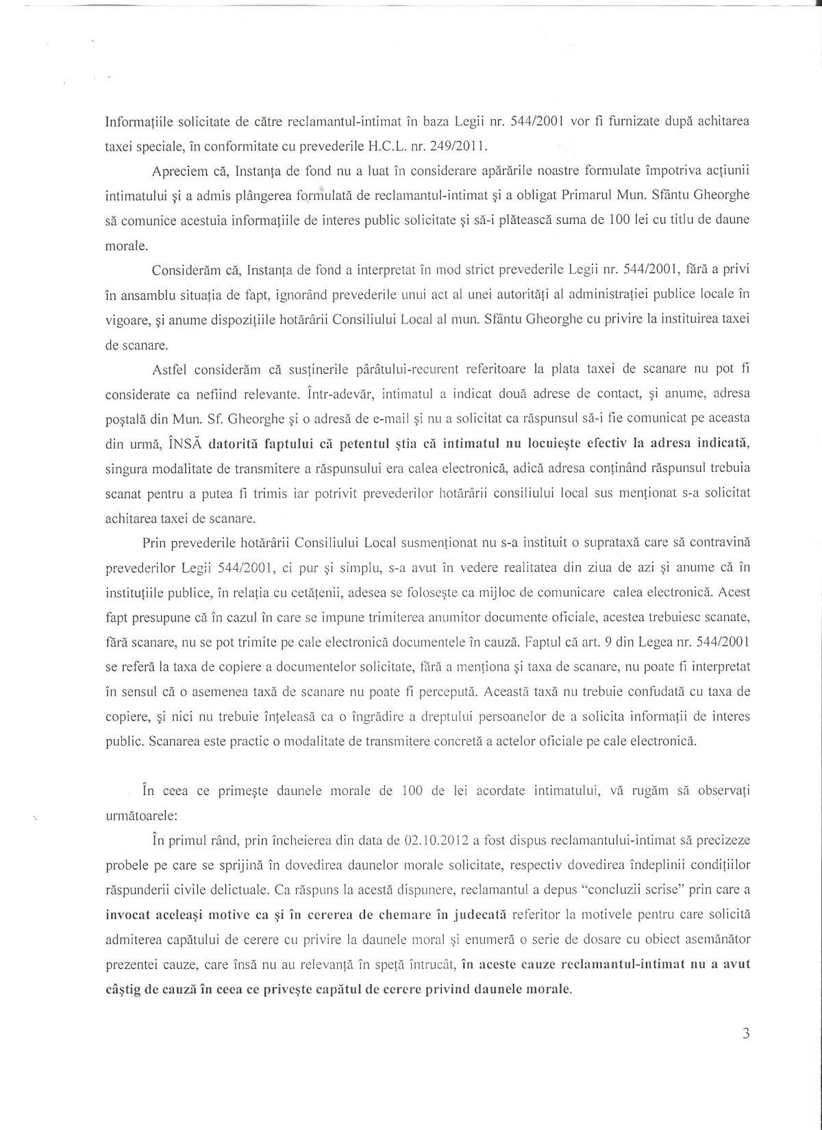 Recurs Primar Sfantu Gheorghe Curtea de Apel Brasov Legea 544 2001 Dan Tanasa 2