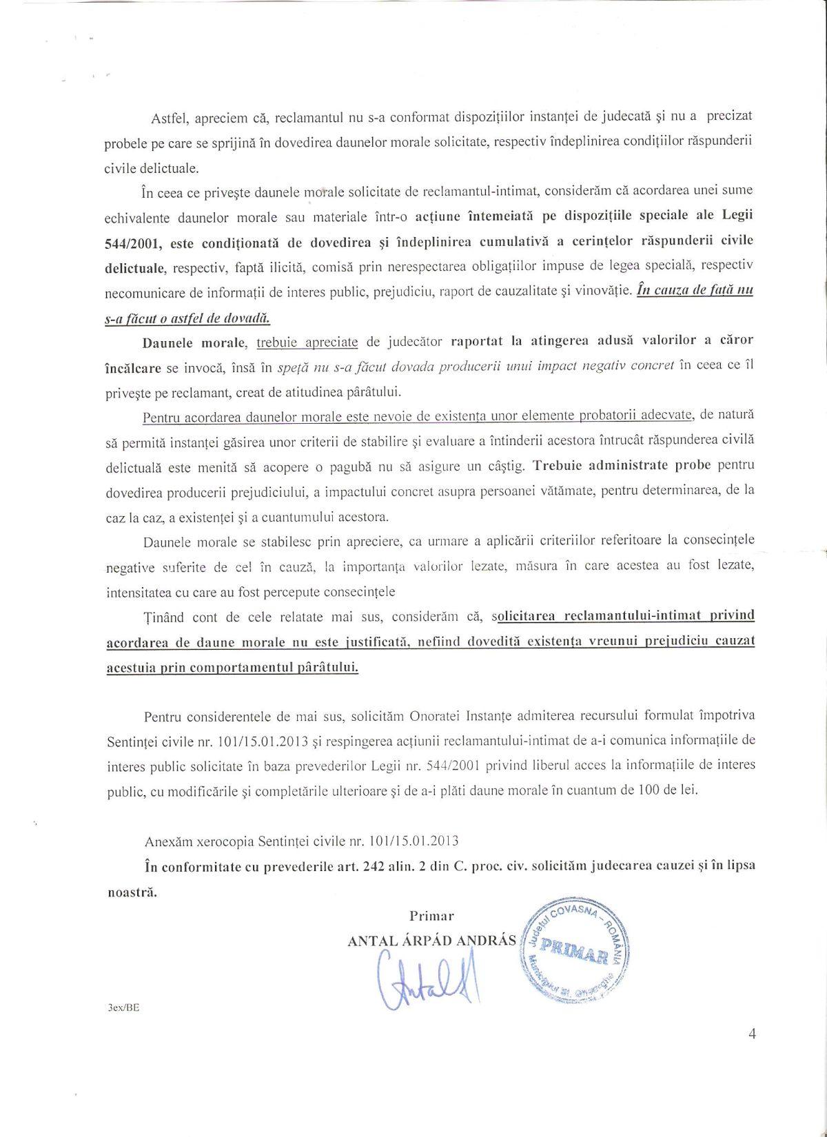 Recurs Primar Sfantu Gheorghe Curtea de Apel Brasov Legea 544 2001 Dan Tanasa 3