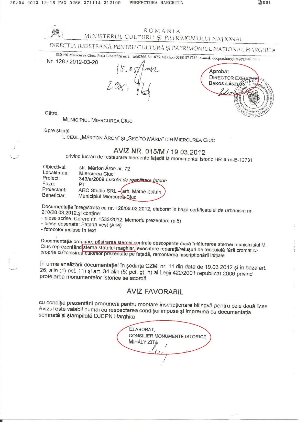Aviz Marton Aron Miercurea Ciuc MAI steme Ungaria scoli Harghita Victor Ponta UDMR Ungaria Mare
