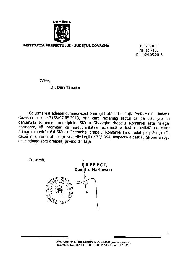 Primar Antal Arpad Prefect Covasna placute indicatoare drapelul Romaniei