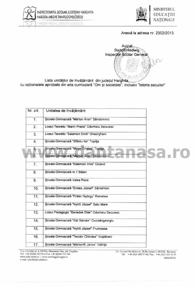 lista scoli harghita manual istoria secuilor 1
