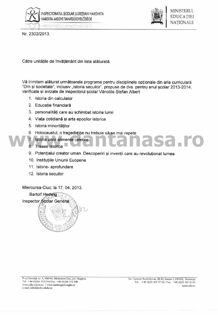 lista scoli harghita manual istoria secuilor 4