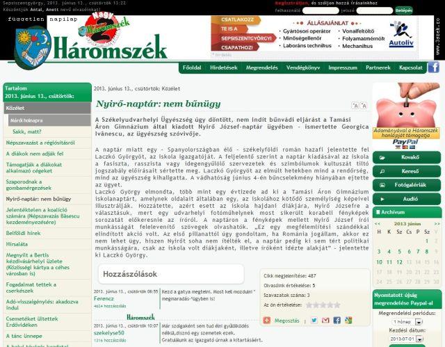 Articolul din cotidianul Haromszek care preciează decizia Parchetului din Odorheiul Secuiesc