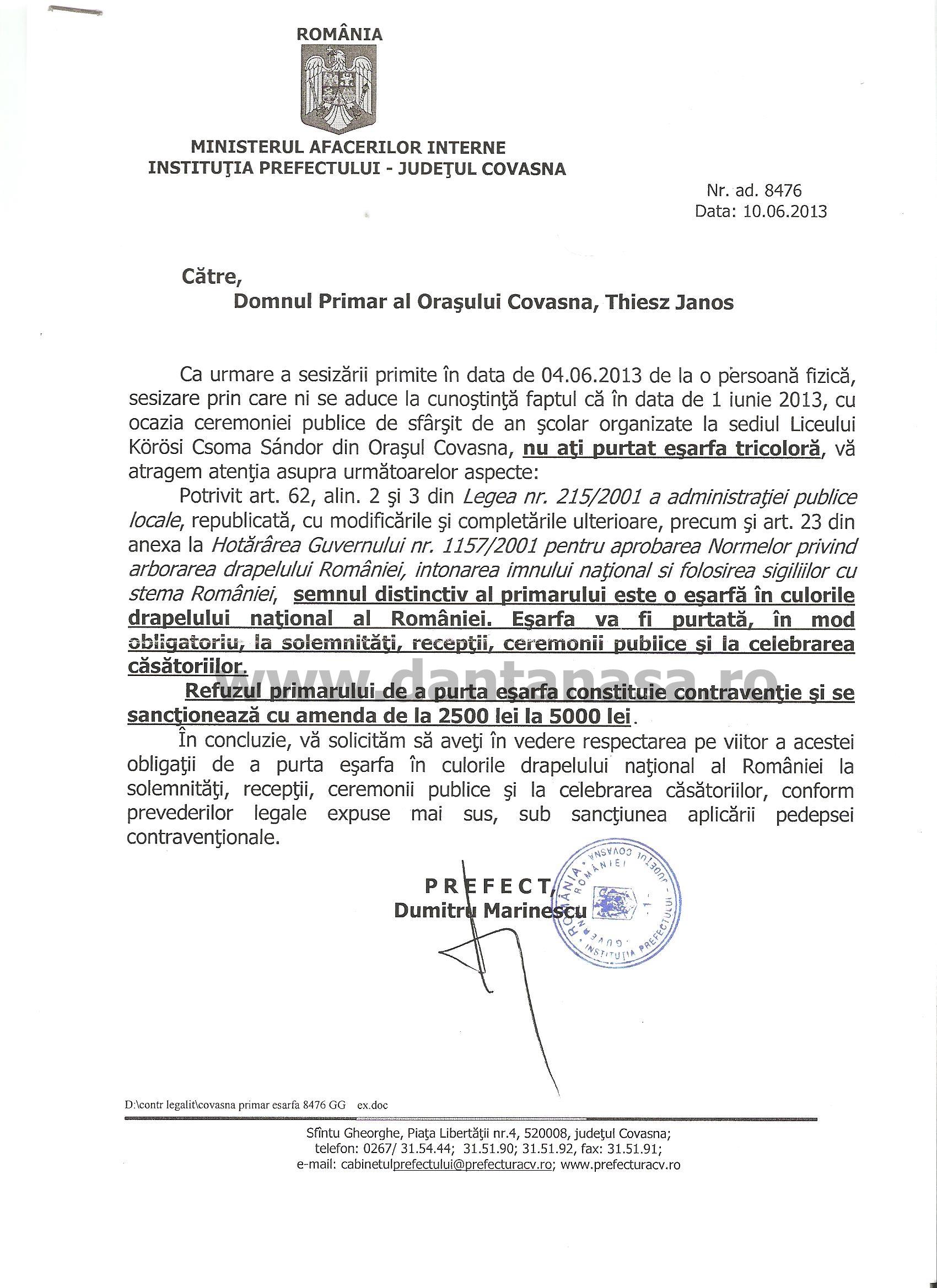 Prefect Covasna primar UDMR Covasna somatie esarfa tricolora Korosi