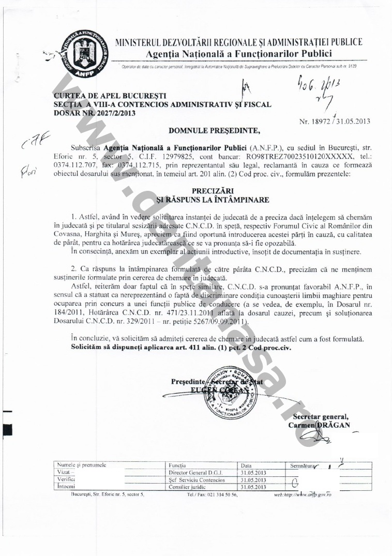 Proces Guvernul Victor Ponta ANFP CNCD Forumul Civic al Romanilor din Covasna Harghita Mures 1
