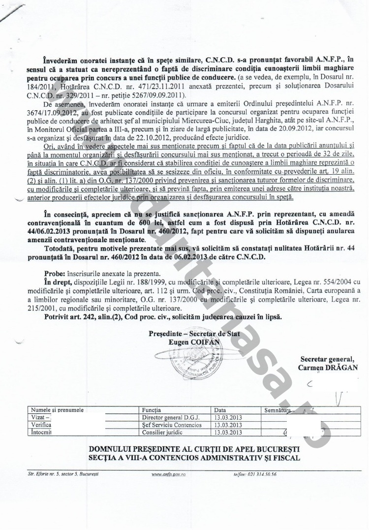 Proces Guvernul Victor Ponta ANFP CNCD Forumul Civic al Romanilor din Covasna Harghita Mures 5