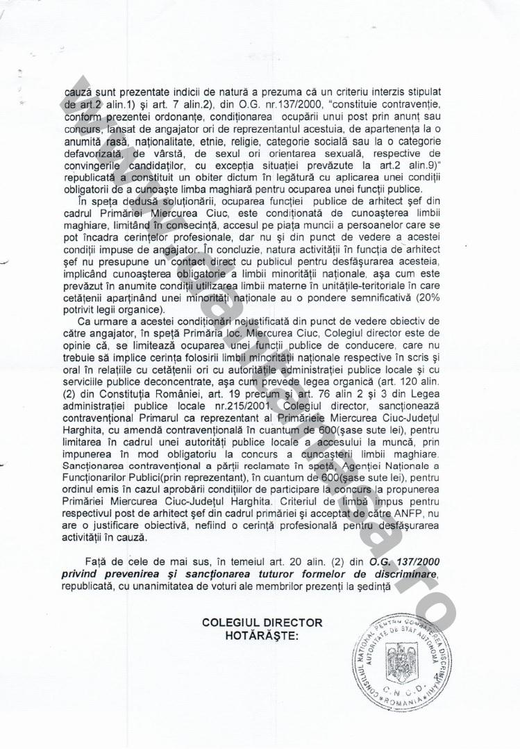 Proces Guvernul Victor Ponta ANFP CNCD Forumul Civic al Romanilor din Covasna Harghita Mures 9
