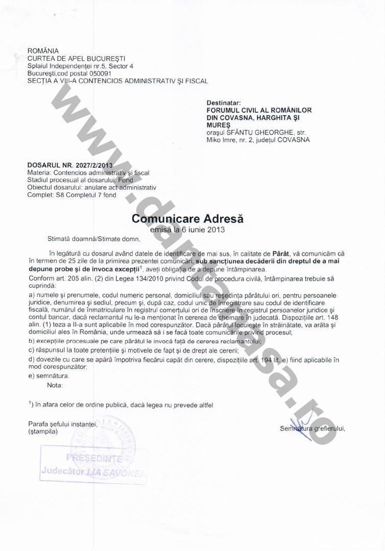 Proces Guvernul Victor Ponta ANFP CNCD Forumul Civic al Romanilor din Covasna Harghita Mures