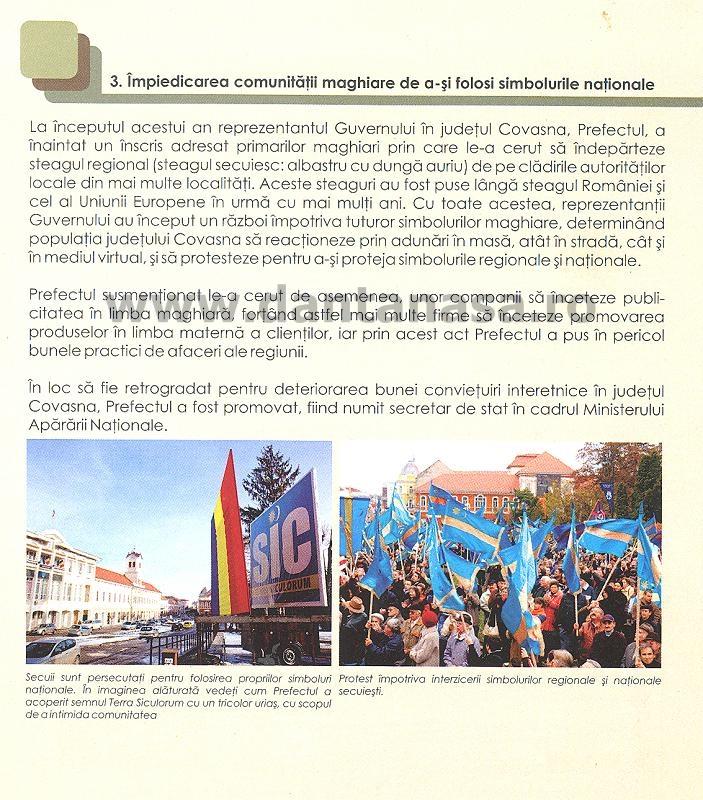 Raport UDMR discriminare Antena 3 Sabina Elena limba maghiara steag secuiesc