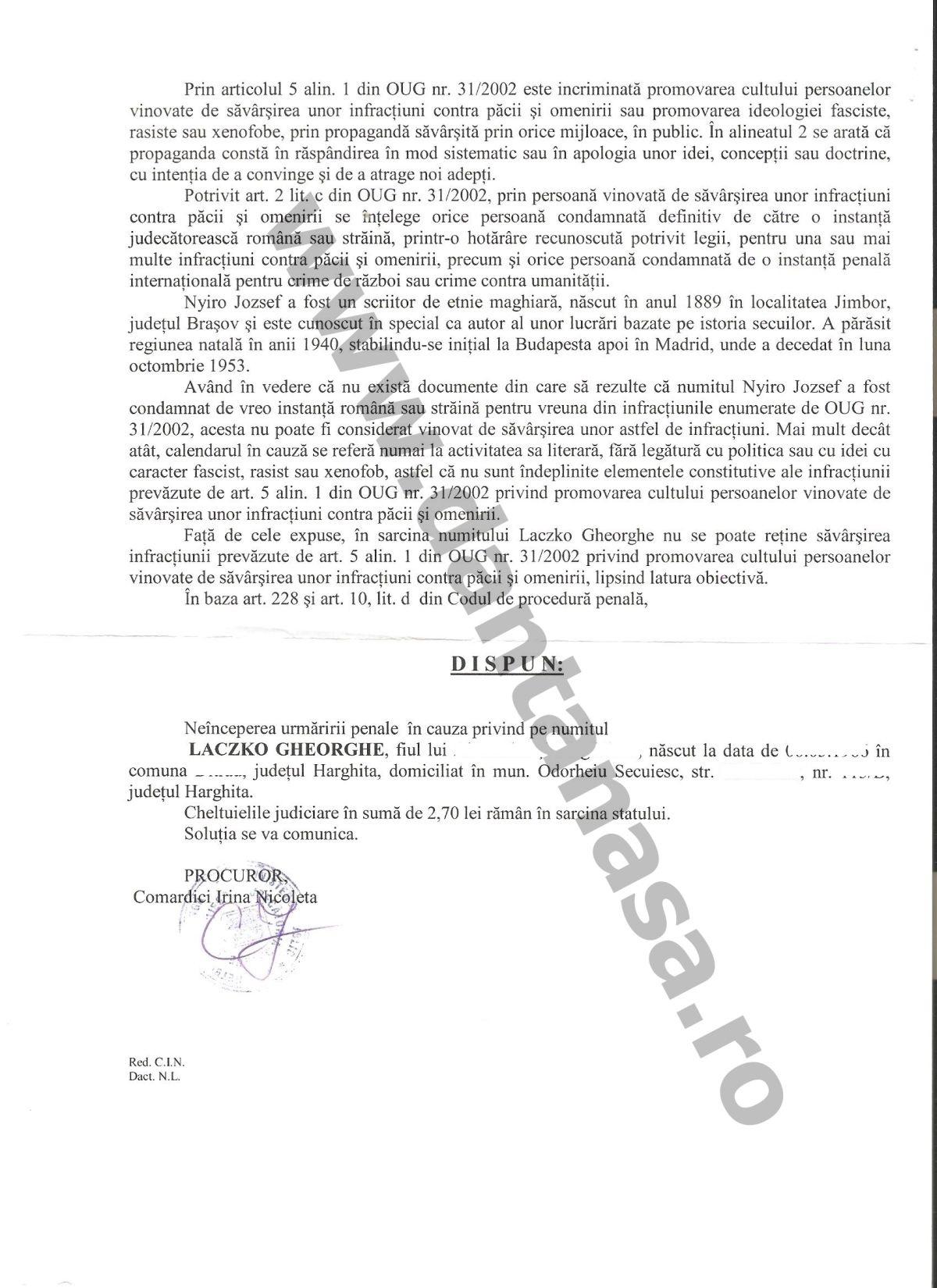Rezolutie Parchet Odorheiul Secuiesc calendar Nyiro Jozsef Liceul Tamasi Aron doi