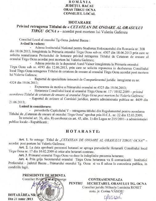 Hotararea-abuziva-de-retragere-a-Cetateniei-de-Onoare-lui-Valeriu-Gafencu-Targu-Ocna-21.07.2013