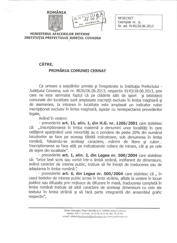 somatie prefect covasna inscriptii limba maghiara biblioteca sala sport indicator primar cernat UDMR Bölöni Dávid 1