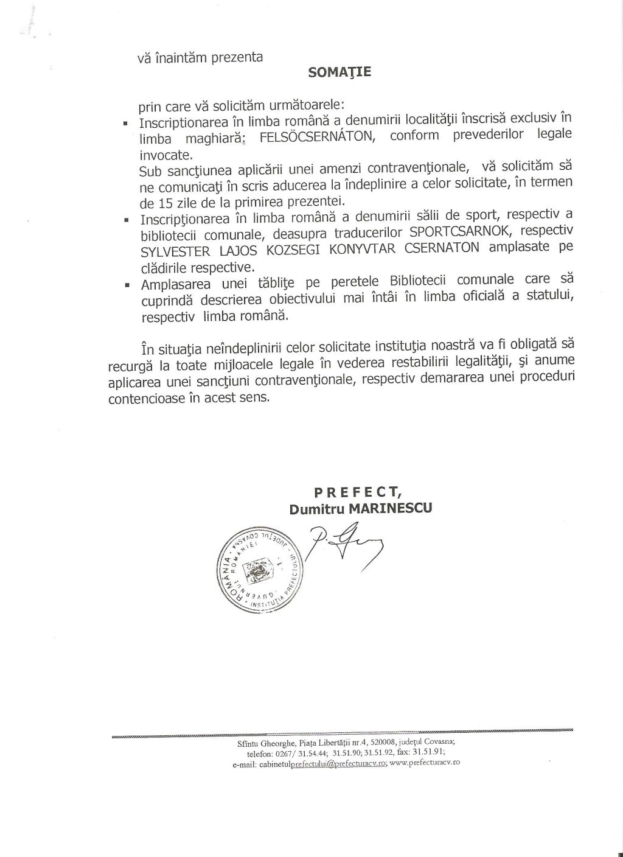 somatie prefect covasna inscriptii limba maghiara biblioteca sala sport indicator primar cernat UDMR Bölöni Dávid 2