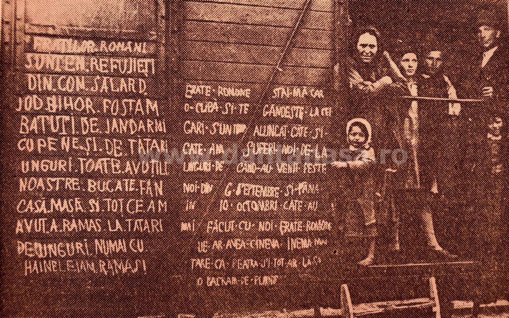 Septembrie 1940. Români din Sălard, jud. Bihor, expulzați în vagoane de vite, după ce au fost maltratați de unguri