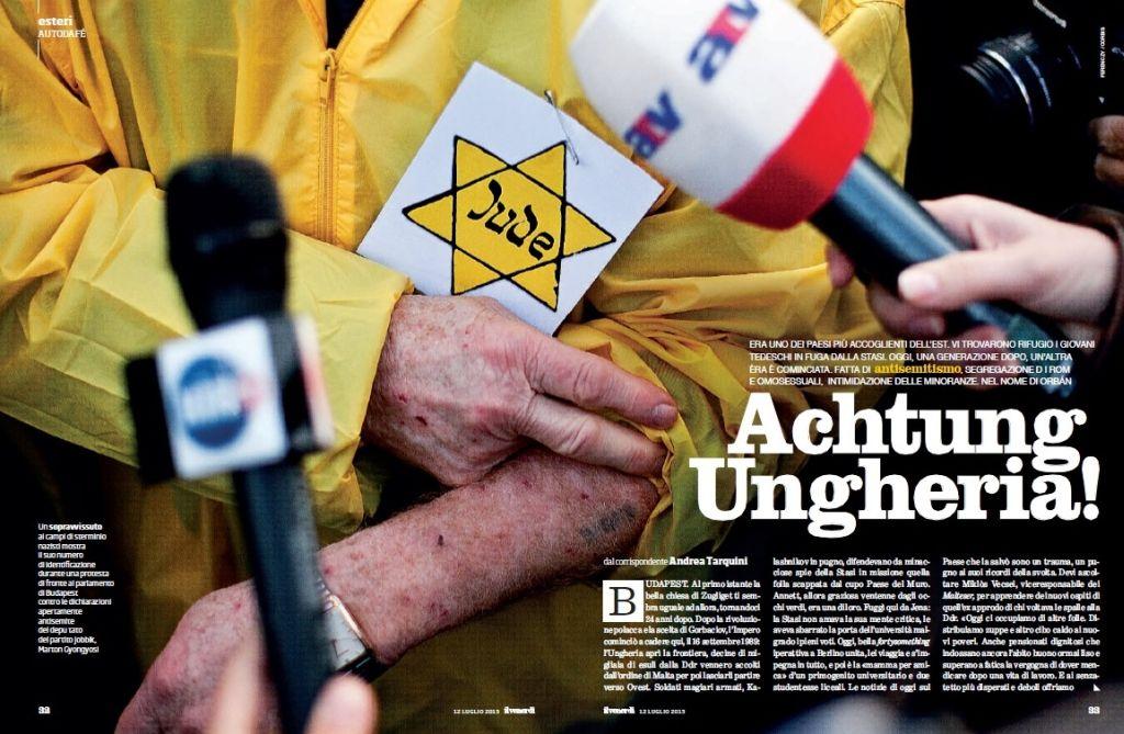 """Un supraviețuitor al lagărelor de exterminare naziste își arată numărul de identificare pe durata unui protest în fața parlamentului din Budapesta, împotriva declarațiilor cu un clar caracter antisemit făcute de deputatul partidului """"Jobbik"""" Marton Gyongyosi."""