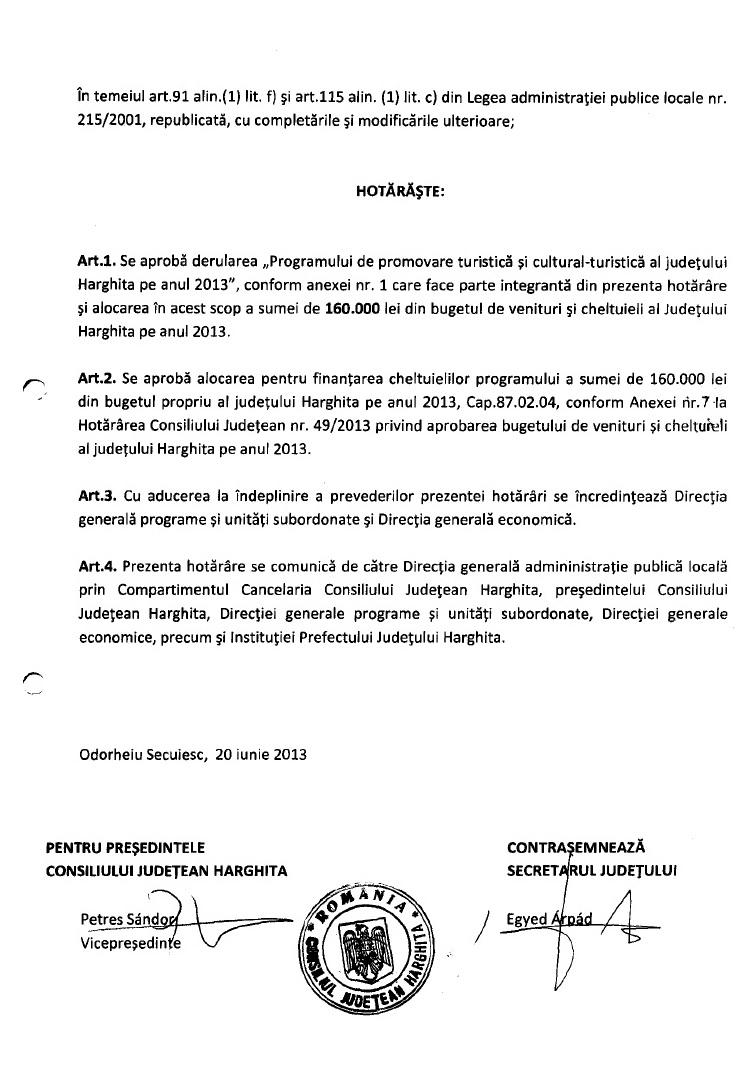 CJ Harghita fonduri promovare turistica tinut secuiesc 2013
