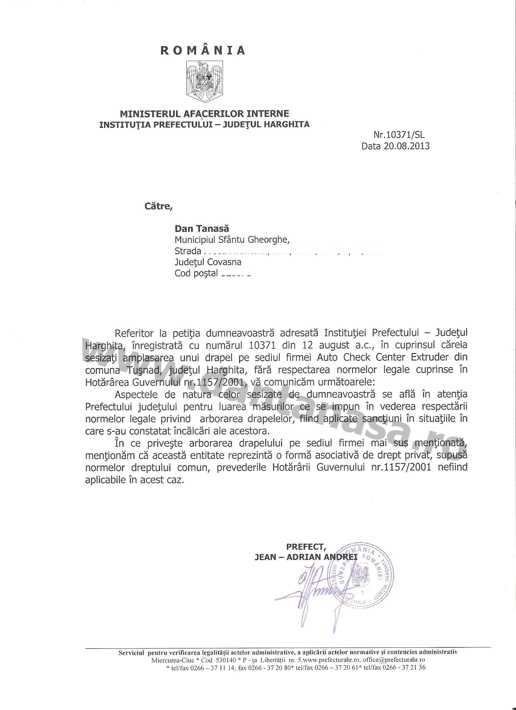 Prefect Harghita Jean-Adrian Andrei refuz drapel Ungaria firma privata Tusnad
