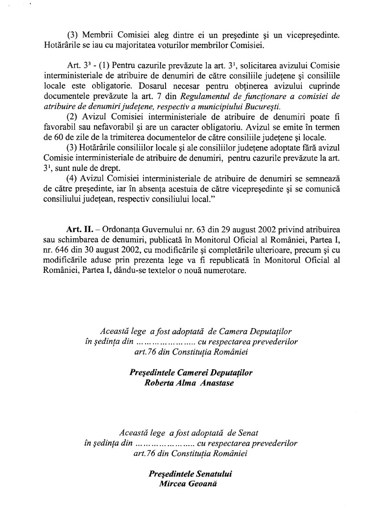Proiect schimbare denumiri comisie interministerial respins USL mirea dusa